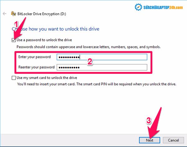 Nhập mật khẩu và nhấn Next để tiếp tục
