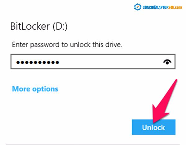 Nhập mật khẩu rồi nhấn Unlock