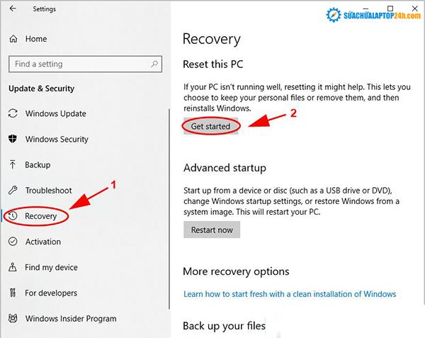 Nhấp vào Get started bên dưới Reset this PC