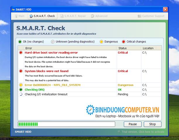 Dấu hiệu báo lỗi ổ cứng